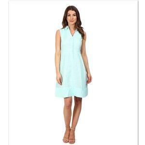 Sangria Aqua Green Gingham Shirtdress